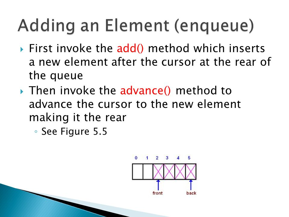  First invoke the add() method which inserts a new element after the cursor at the rear of the queue  Then invoke the advance() method to advance the cursor to the new element making it the rear ◦ See Figure 5.5