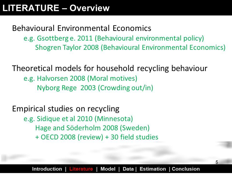 LITERATURE – Overview 5 Behavioural Environmental Economics e.g.