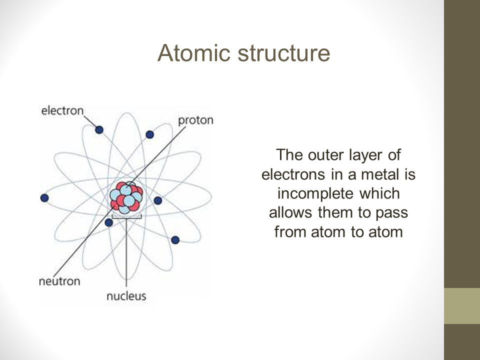 Atomic structure The outer layer of electrons in a metal is incomplete which allows them to pass from atom to atom