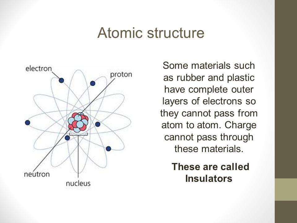 Atomic structure Some materials such as rubber and plastic have complete outer layers of electrons so they cannot pass from atom to atom. Charge canno