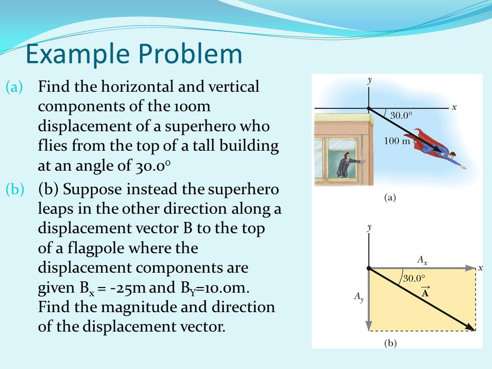 Example Problem (a) Find the horizontal and vertical components of the 100m displacement of a superhero who flies from the top of a tall building at a