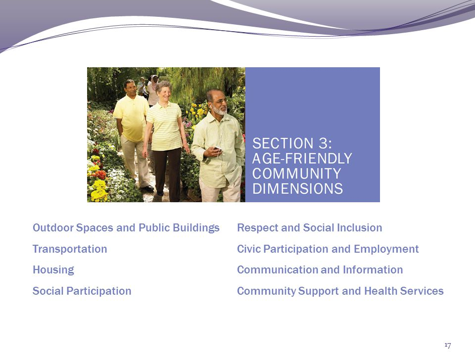 Section 4 Step 1: Defining Local Principles Objectives Create structure around local initiative Determine which AFC dimensions are most relevant to your community Tasks 1.