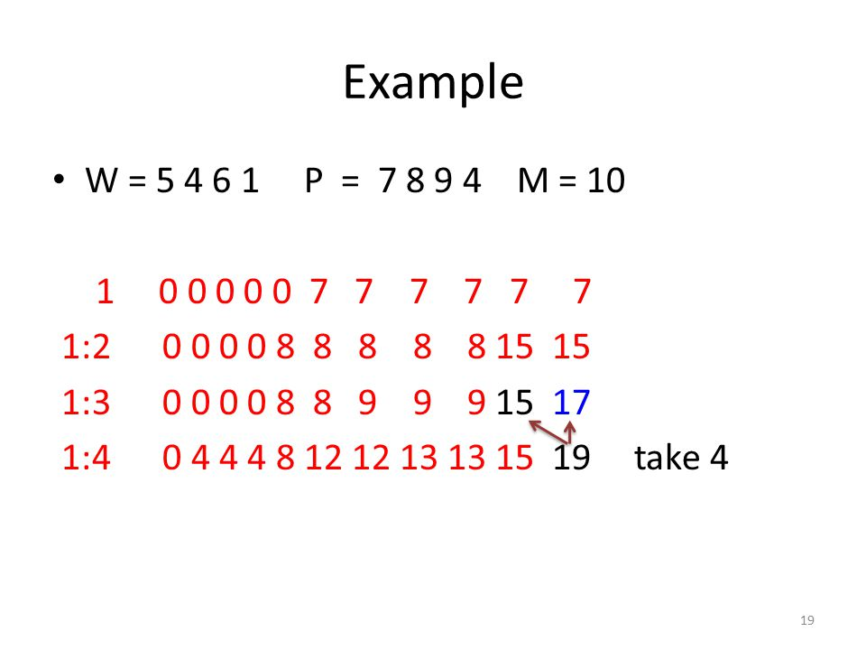Example W = 5 4 6 1 P = 7 8 9 4 M = 10 1 0 0 0 0 0 7 7 7 7 7 7 1:2 0 0 0 0 8 8 8 8 8 15 15 1:3 0 0 0 0 8 8 9 9 9 15 17 1:4 0 4 4 4 8 12 12 13 13 15 19 take 4 19