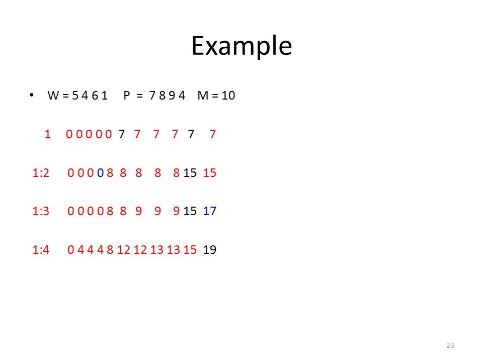 Example W = 5 4 6 1 P = 7 8 9 4 M = 10 1 0 0 0 0 0 7 7 7 7 7 7 1:2 0 0 0 0 8 8 8 8 8 15 15 1:3 0 0 0 0 8 8 9 9 9 15 17 1:4 0 4 4 4 8 12 12 13 13 15 19 23