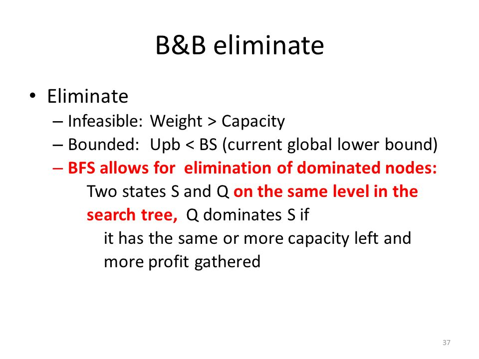 B&B eliminate Eliminate – Infeasible: Weight > Capacity – Bounded: Upb < BS (current global lower bound) – BFS allows for elimination of dominated nod