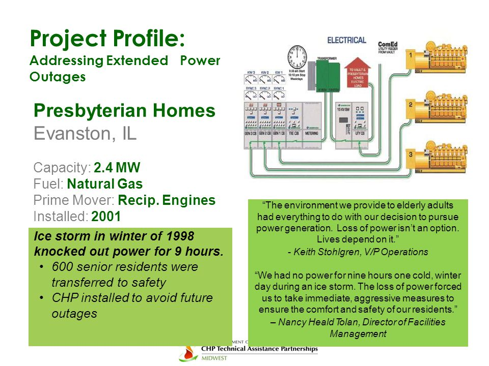 Project Profile: Addressing ExtendedPower Outages Presbyterian Homes Evanston, IL Capacity: 2.4 MW Fuel: Natural Gas Prime Mover: Recip. Engines Insta