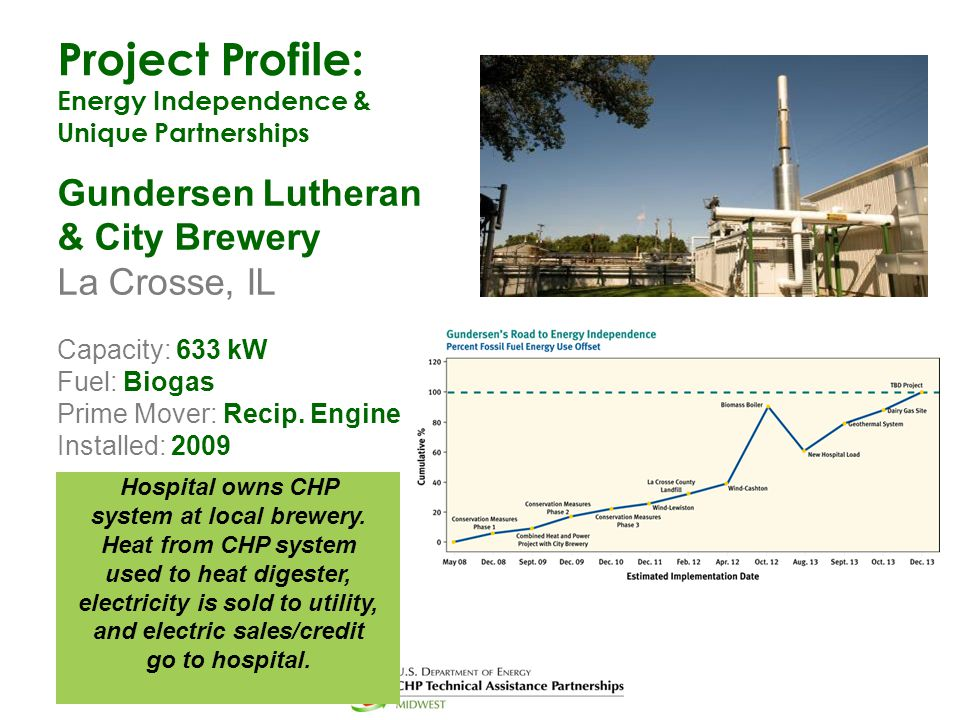 Project Profile: Energy Independence & Unique Partnerships Gundersen Lutheran & City Brewery La Crosse, IL Capacity: 633 kW Fuel: Biogas Prime Mover: