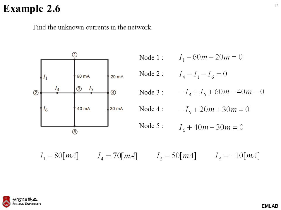 EMLAB 12 Example 2.6 Find the unknown currents in the network.