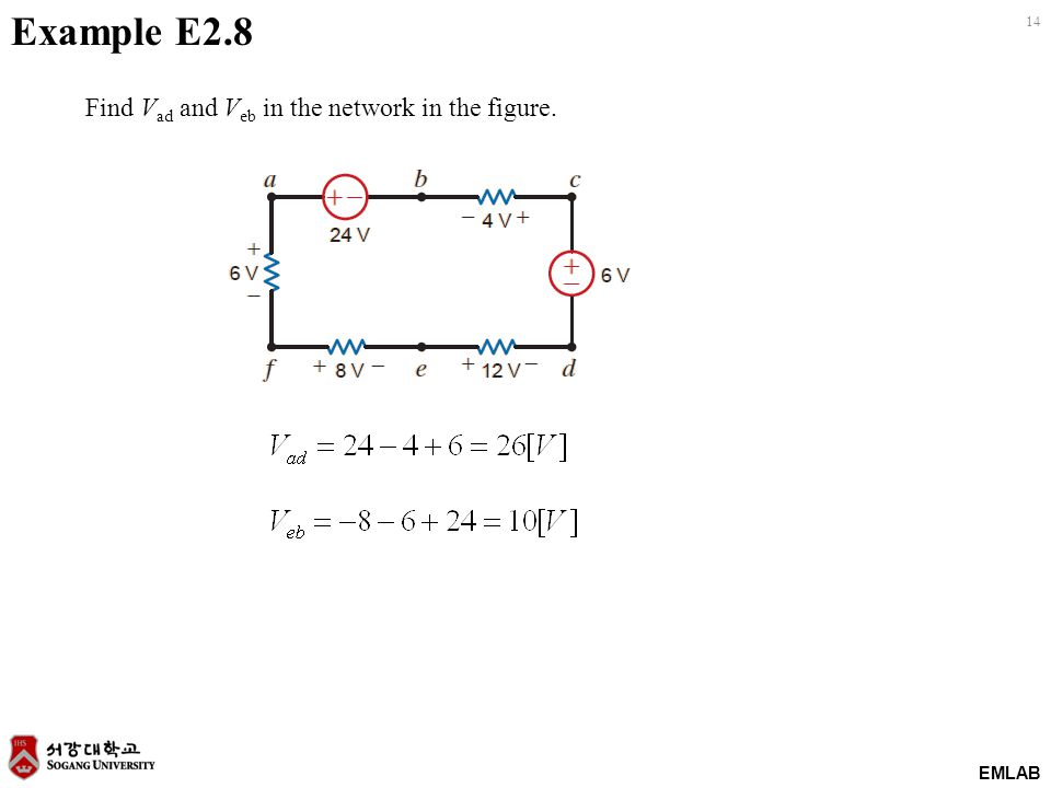 EMLAB 14 Find V ad and V eb in the network in the figure. Example E2.8
