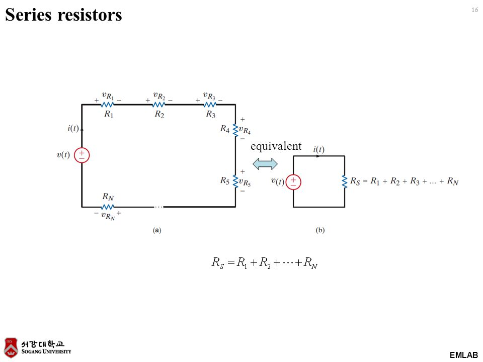 EMLAB 16 Series resistors equivalent