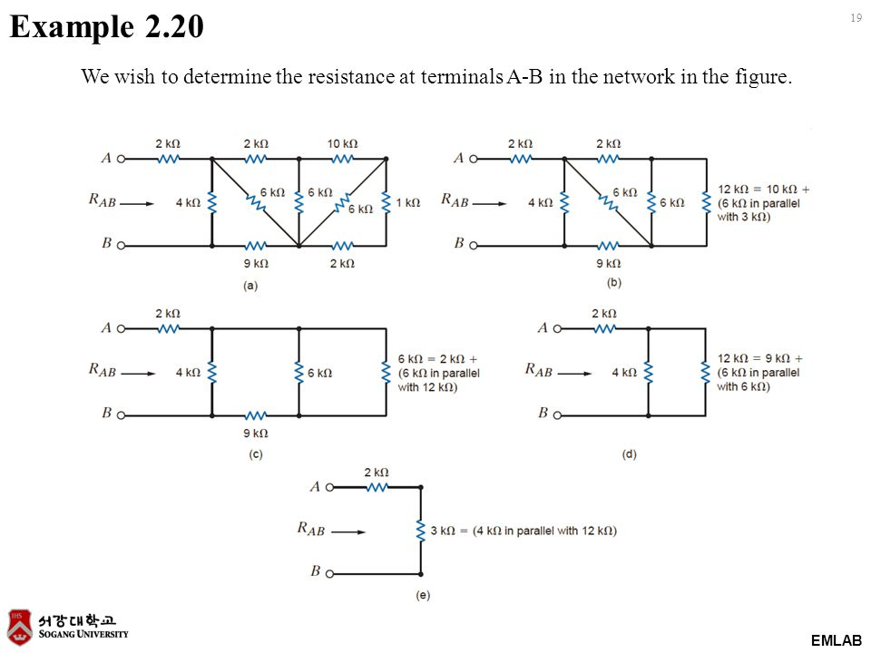 EMLAB 19 Example 2.20 We wish to determine the resistance at terminals A-B in the network in the figure.