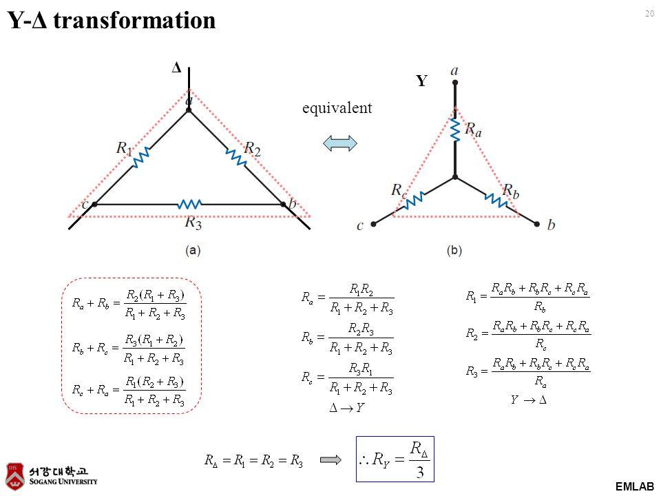 EMLAB 20 Y-Δ transformation equivalent Δ Y