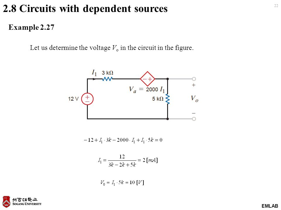 EMLAB 22 2.8 Circuits with dependent sources Example 2.27 Let us determine the voltage V o in the circuit in the figure.