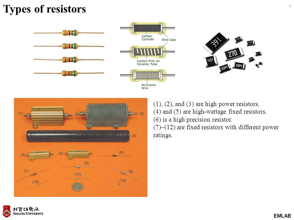 EMLAB 4 Types of resistors (1), (2), and (3) are high power resistors. (4) and (5) are high-wattage fixed resistors. (6) is a high precision resistor.