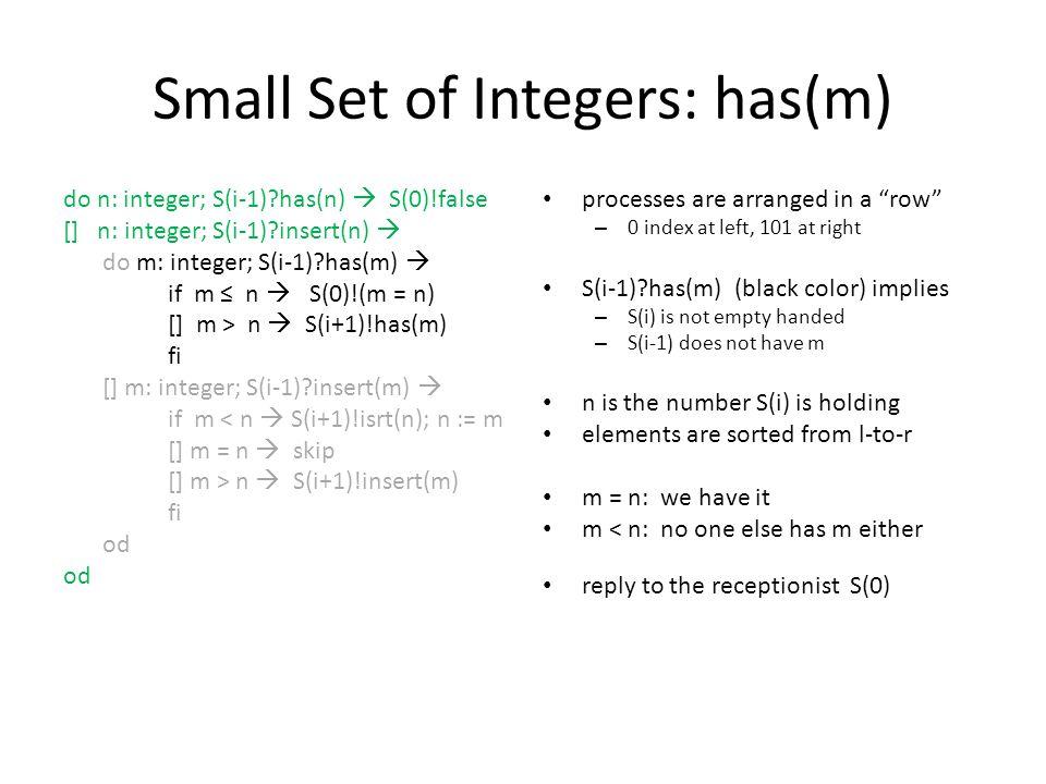 Small Set of Integers: has(m) do n: integer; S(i-1)?has(n)  S(0)!false [] n: integer; S(i-1)?insert(n)  do m: integer; S(i-1)?has(m)  if m ≤ n  S(