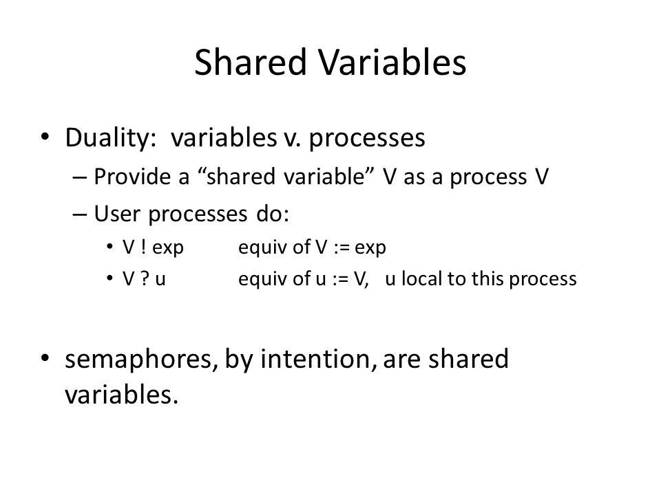 """Shared Variables Duality: variables v. processes – Provide a """"shared variable"""" V as a process V – User processes do: V ! expequiv of V := exp V ? uequ"""