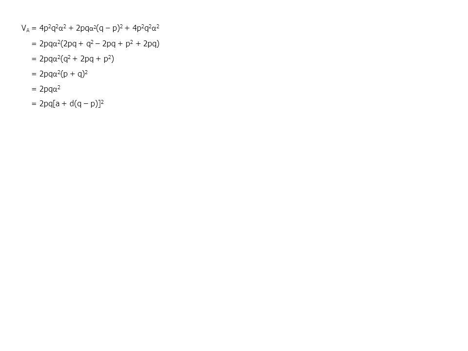 V A = 4p 2 q 2 α 2 + 2pq α 2 (q – p) 2 + 4p 2 q 2 α 2 = 2pq α 2 (2pq + q 2 – 2pq + p 2 + 2pq) = 2pq α 2 (q 2 + 2pq + p 2 ) = 2pq α 2 (p + q) 2 = 2pq α