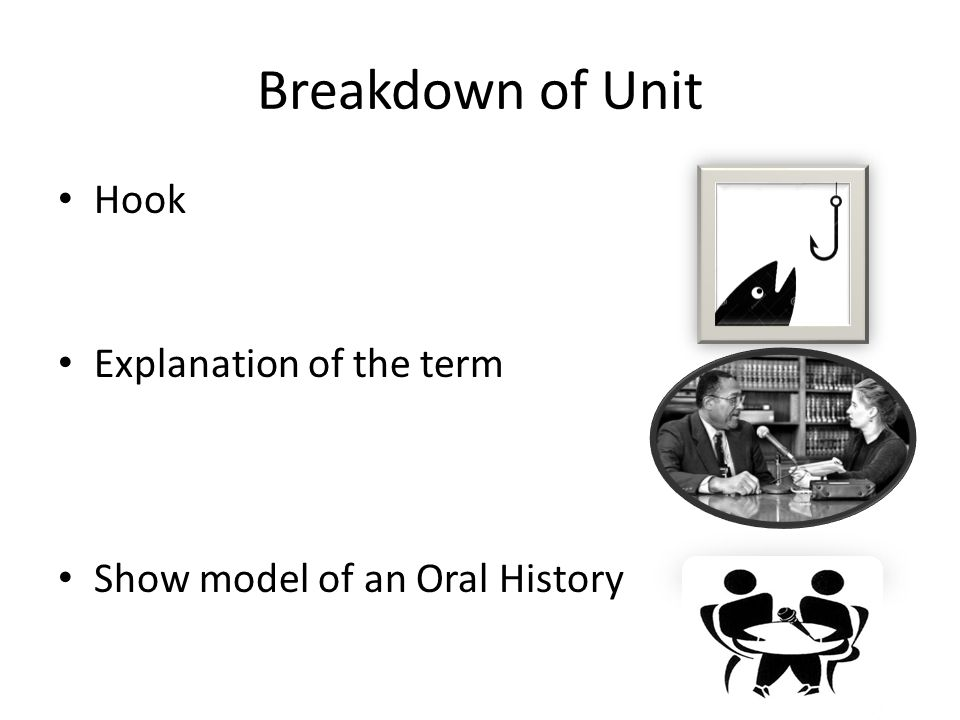 Breakdown of Unit Hook Explanation of the term Show model of an Oral History