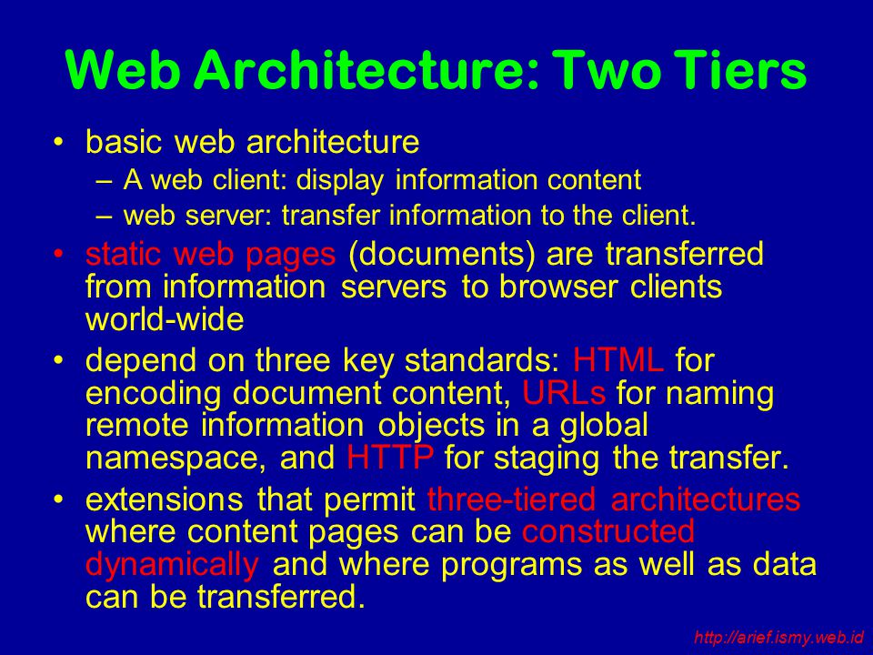 Web Architecture: Two Tiers basic web architecture –A web client: display information content –web server: transfer information to the client.