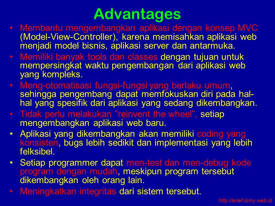 Advantages Membantu mengembangkan aplikasi dengan konsep MVC (Model-View-Controller), karena memisahkan aplikasi web menjadi model bisnis, aplikasi server dan antarmuka.