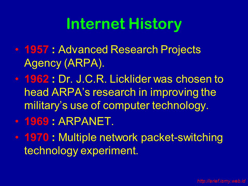 Internet History 1957 : Advanced Research Projects Agency (ARPA).