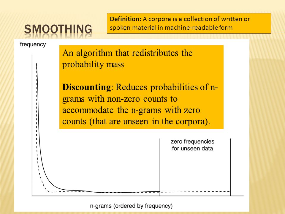 An algorithm that redistributes the probability mass Discounting: Reduces probabilities of n- grams with non-zero counts to accommodate the n-grams with zero counts (that are unseen in the corpora).