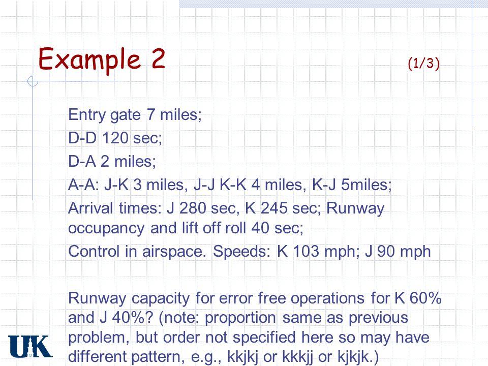 Example 2 (2/3) SpeedsK 103 mph; J 90 mph T ij K-Kδ ij /v j = (4/103) 3600 = 140 sec J-J δ ij /v j = (4/90) 3600 = 160 sec J-Kδ ij /v j = (3/103) 3600 = 105 sec K-J(δ ij /v i ) +γ [(1/v j ) –(1/v i )] =(5/103 +7(1/90 -1/103))3600 = 210 sec P ij JK J.16.24 K.36 Trail Lead E(T ij ) = ΣP ij T ij = 16(160)+.24(210)+.24(105)+.36(140) = 151.6 sec C A = 3600/151.6 = 23.7 Arr/hr (note slight difference from example 1) JK J 160210 K 105140 Trail Lead T ij 0.4*0.6 = expected proportion of Ks following Js Faster, bigger plane