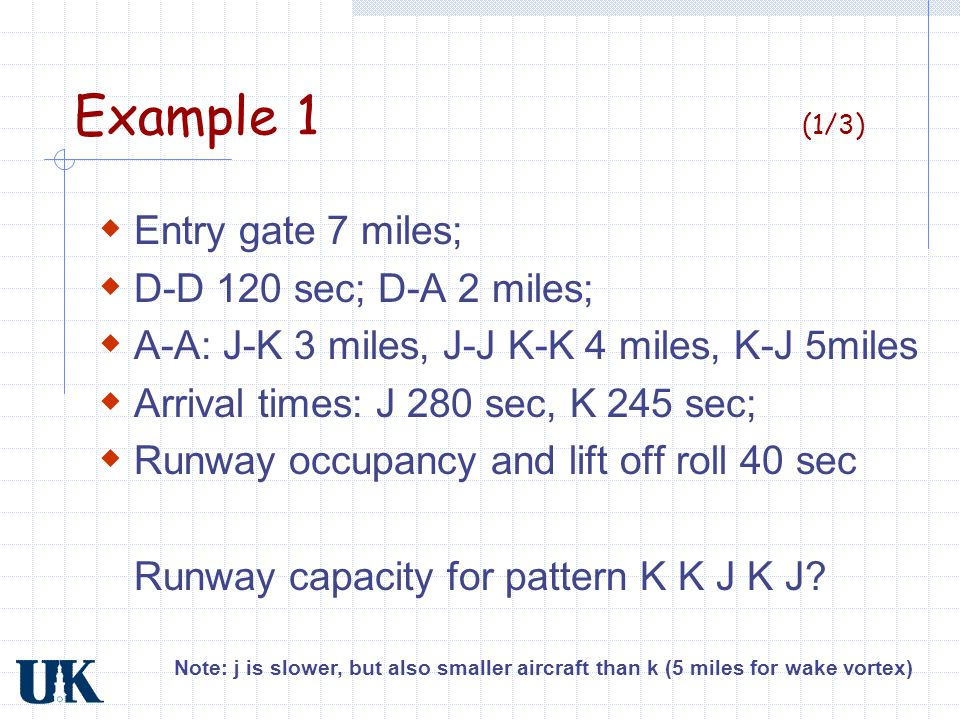 Example 1 (2/3) 7 mi K J K K J K 35 sec/mi; J 40 sec/mi K-K Same speed K-J Opening J-K Closing Note: ignore slopes of lines, first two K's should be steeper