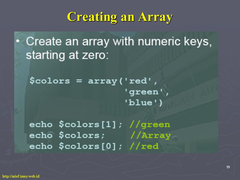 19 Creating an Array