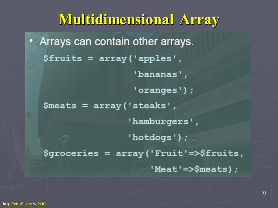 33 Multidimensional Array