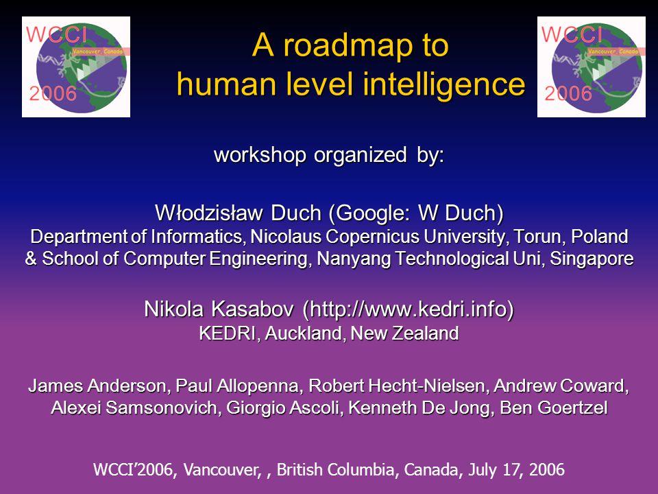A roadmap to human level intelligence workshop organized by: Włodzisław Duch (Google: W Duch) Department of Informatics, Nicolaus Copernicus Universit