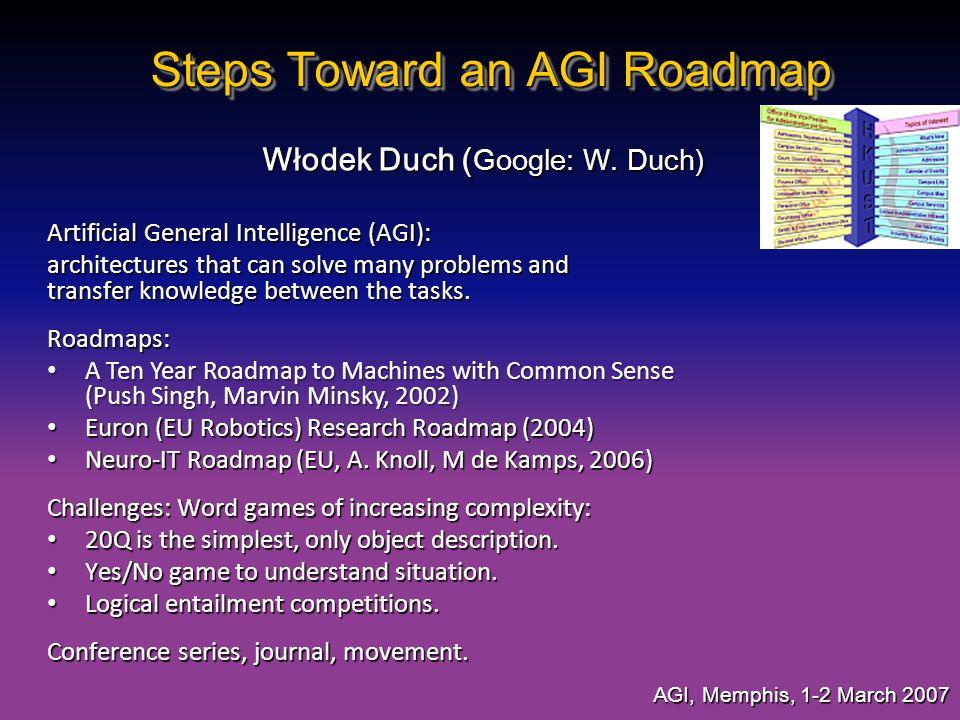 Steps Toward an AGI Roadmap Włodek Duch ( Google: W. Duch) AGI, Memphis, 1-2 March 2007 Artificial General Intelligence (AGI): architectures that can