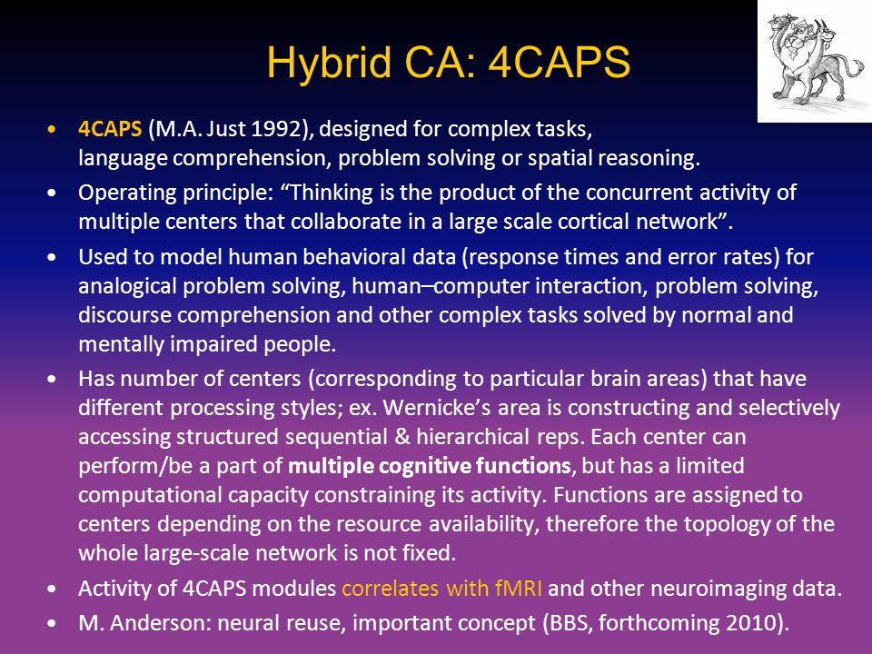 Hybrid CA: 4CAPS 4CAPS (M.A. Just 1992), designed for complex tasks, language comprehension, problem solving or spatial reasoning. Operating principle