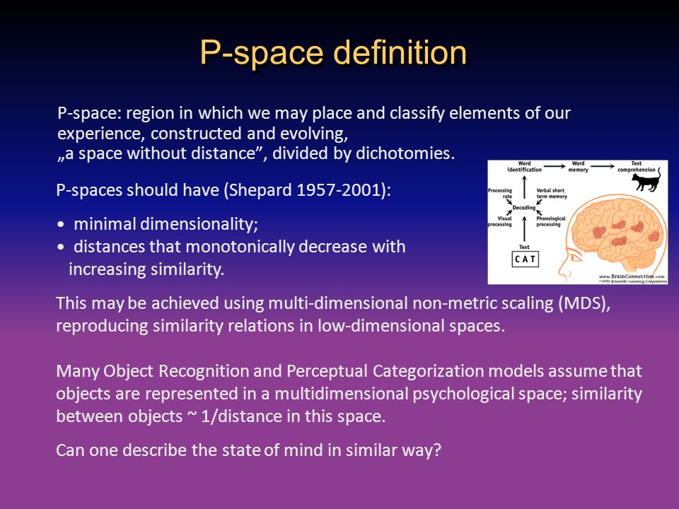 """P-space definition P-space: region in which we may place and classify elements of our experience, constructed and evolving, """"a space without distance"""""""