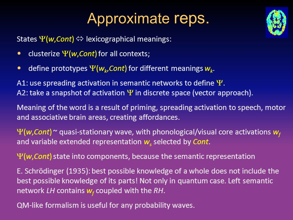 Approximate reps. States  (w,Cont)  lexicographical meanings: clusterize  (w,Cont) for all contexts; define prototypes  (w k,Cont) for different m