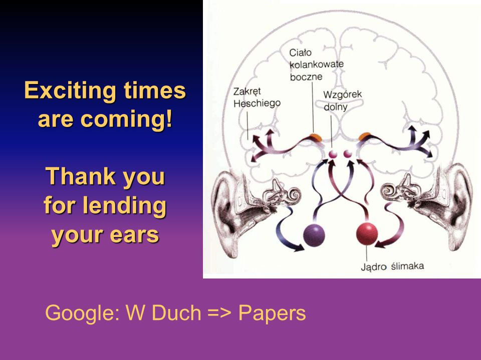 Exciting times are coming! Thank you for lending your ears Google: W Duch => Papers
