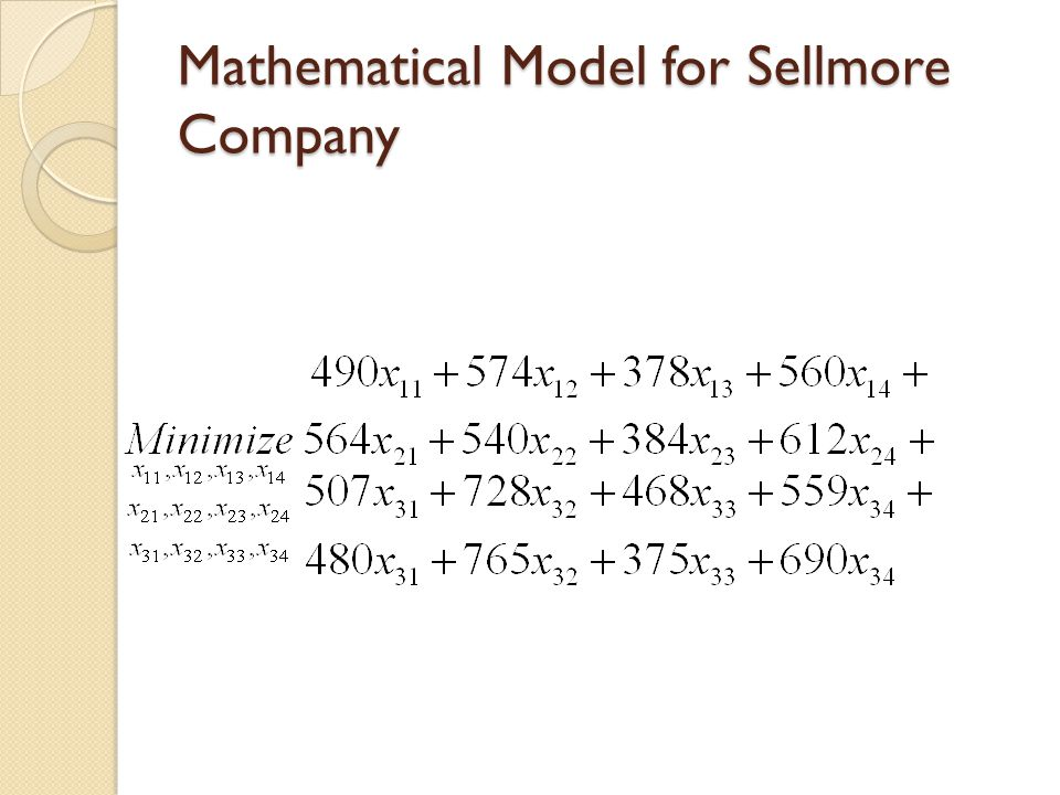 Mathematical Model for Sellmore Company