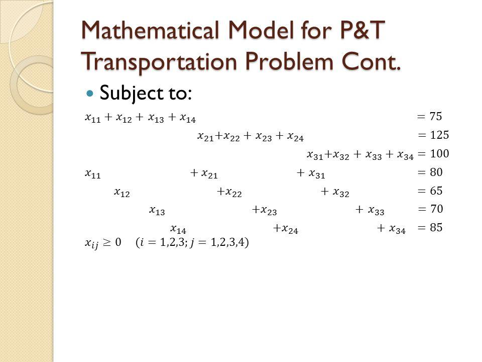 Mathematical Model for P&T Transportation Problem Cont.