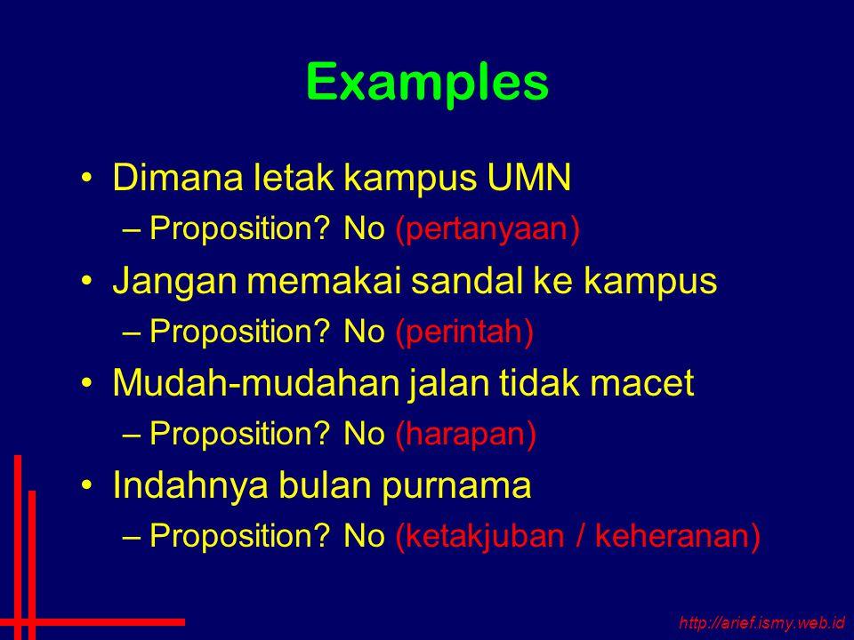 Examples Dimana letak kampus UMN –Proposition.