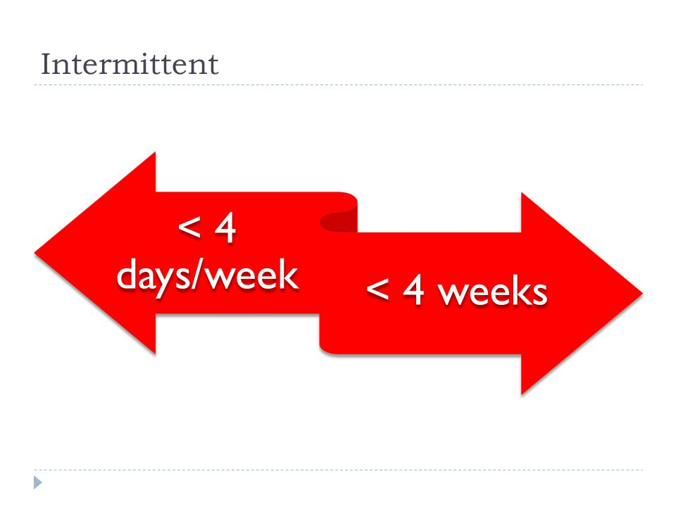 Intermittent < 4 days/week < 4 weeks
