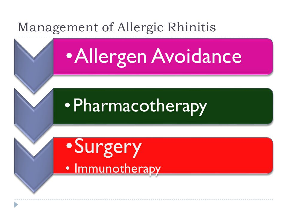 Management of Allergic Rhinitis Allergen Avoidance Pharmacotherapy Surgery Immunotherapy