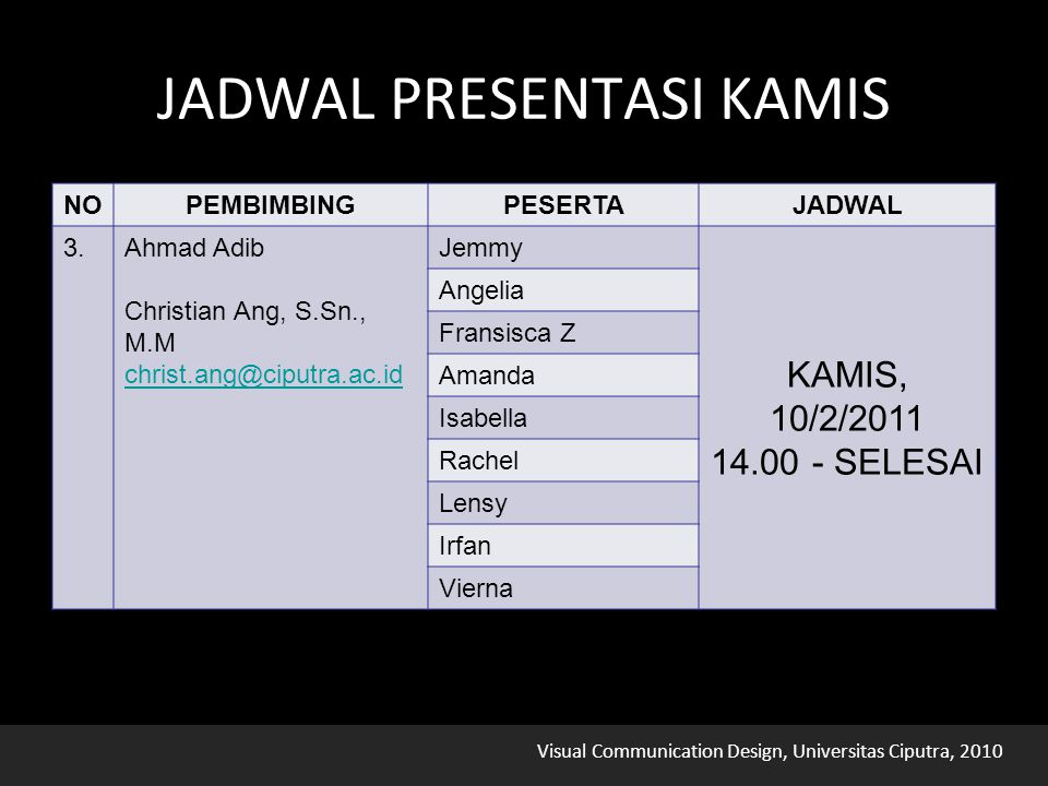 Visual Communication Design, Universitas Ciputra, 2010 JADWAL PRESENTASI JUMAT NOPEMBIMBINGPESERTAJADWAL 4.Drs.