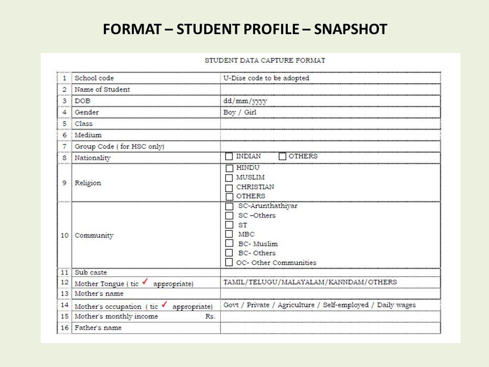 FORMAT – STUDENT PROFILE – SNAPSHOT