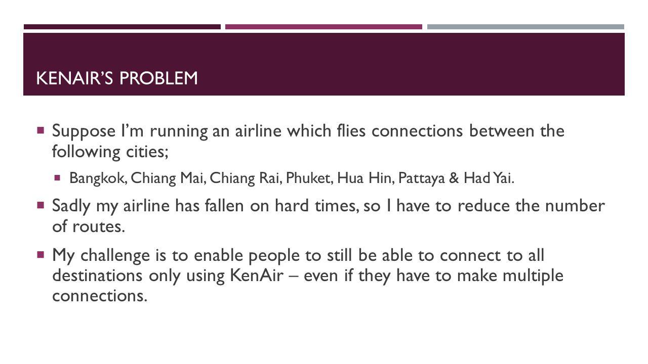 KENAIR'S PROBLEM  Suppose I'm running an airline which flies connections between the following cities;  Bangkok, Chiang Mai, Chiang Rai, Phuket, Hua Hin, Pattaya & Had Yai.