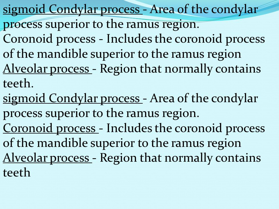 sigmoid Condylar process - Area of the condylar process superior to the ramus region. Coronoid process - Includes the coronoid process of the mandible