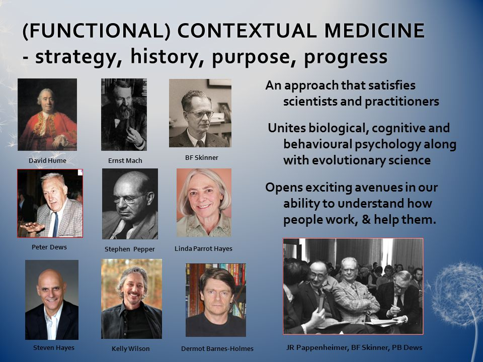 (FUNCTIONAL) CONTEXTUAL MEDICINE - strategy, history, purpose, progress An approach that satisfies scientists and practitioners Unites biological, cognitive and behavioural psychology along with evolutionary science Opens exciting avenues in our ability to understand how people work, & help them.