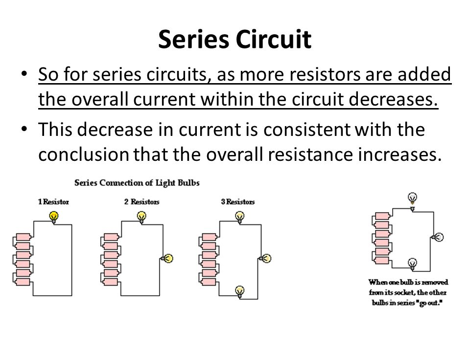 Series Circuit So for series circuits, as more resistors are added the overall current within the circuit decreases. This decrease in current is consi