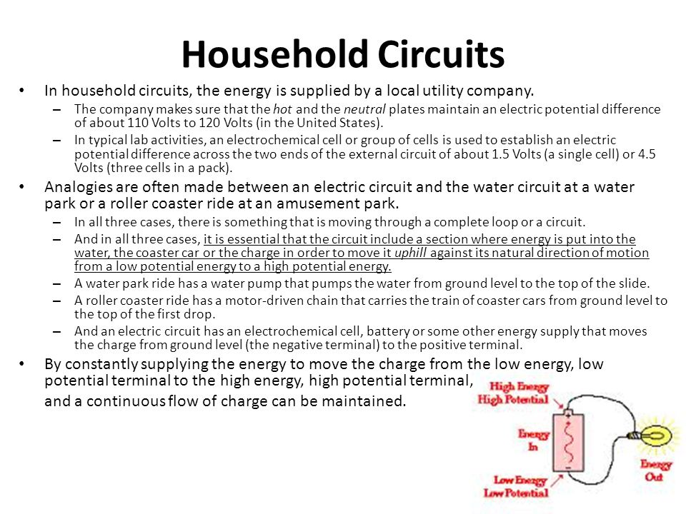 Household Circuits In household circuits, the energy is supplied by a local utility company. – The company makes sure that the hot and the neutral pla