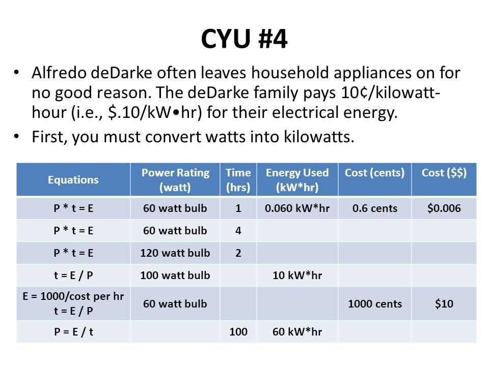 Equations Power Rating (watt) Time (hrs) Energy Used (kW*hr) Cost (cents)Cost ($$) P * t = E60 watt bulb10.060 kW*hr0.6 cents$0.006 P * t = E60 watt b