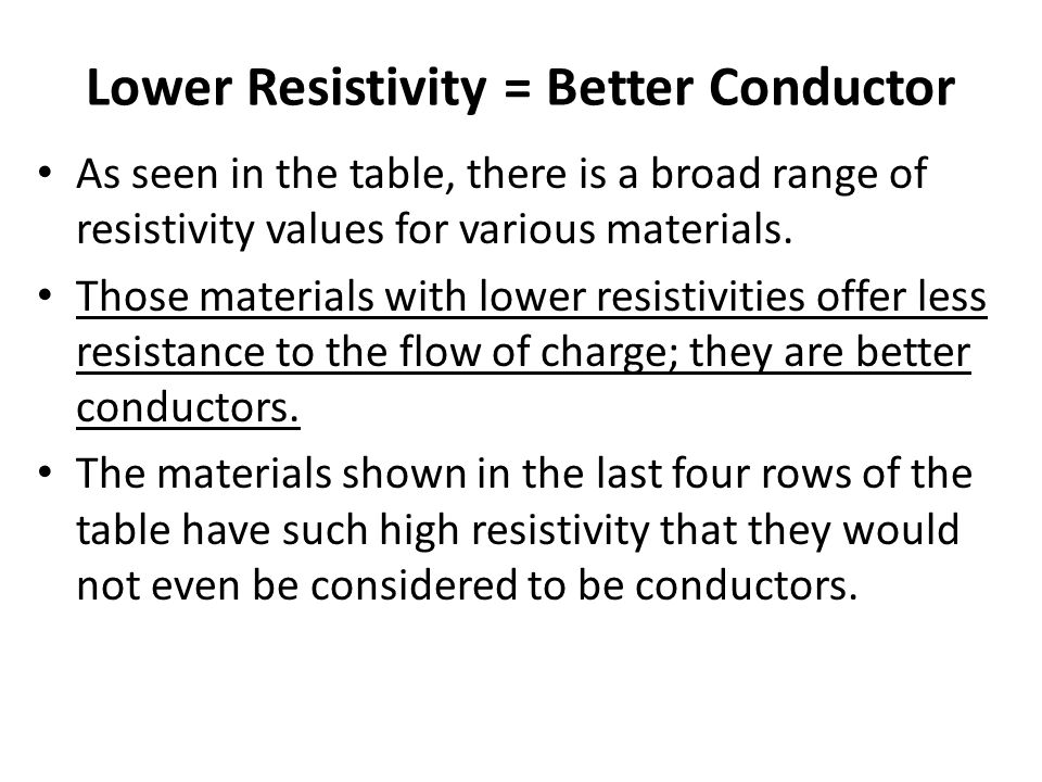 Lower Resistivity = Better Conductor As seen in the table, there is a broad range of resistivity values for various materials. Those materials with lo